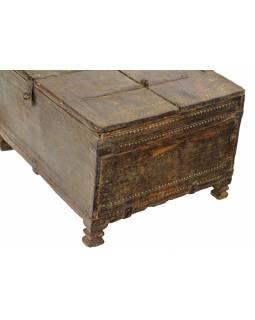 Starožitná truhlička z teakového dřeva, 46x34x26cm