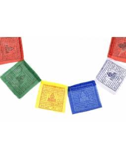 Modlitební praporky, 10x praporků,  9x7cm, černý tisk, polyester