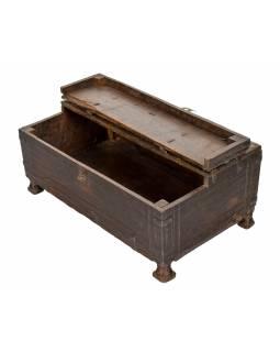 Starožitná truhlička z teakového dřeva, 43x26x18cm