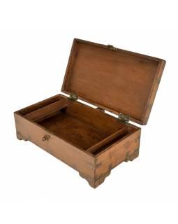 Starožitná truhlička z teakového dřeva, 46x26x17cm