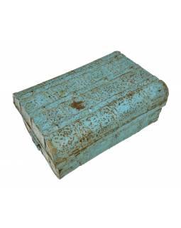 Plechový kufr, antik, ručně malovaný, 60x40x28cm