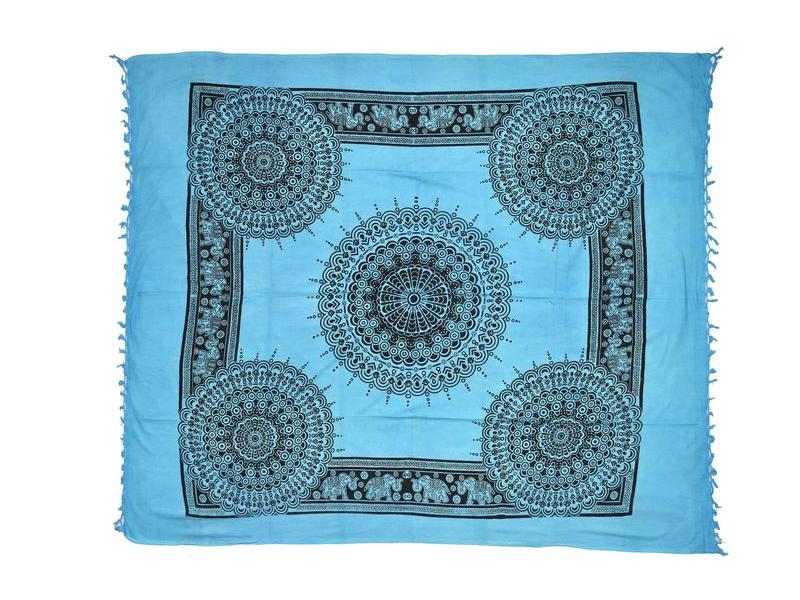 Modrý přehoz na postel, černý potisk pávi, 210x240cm