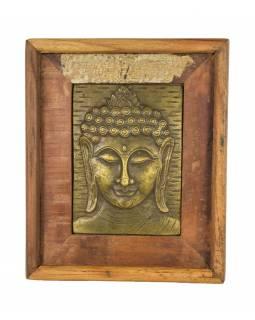 Obraz recyklovaného teakového dřeva, relief Buddhy z tepaného kovu, 25x3x29cm