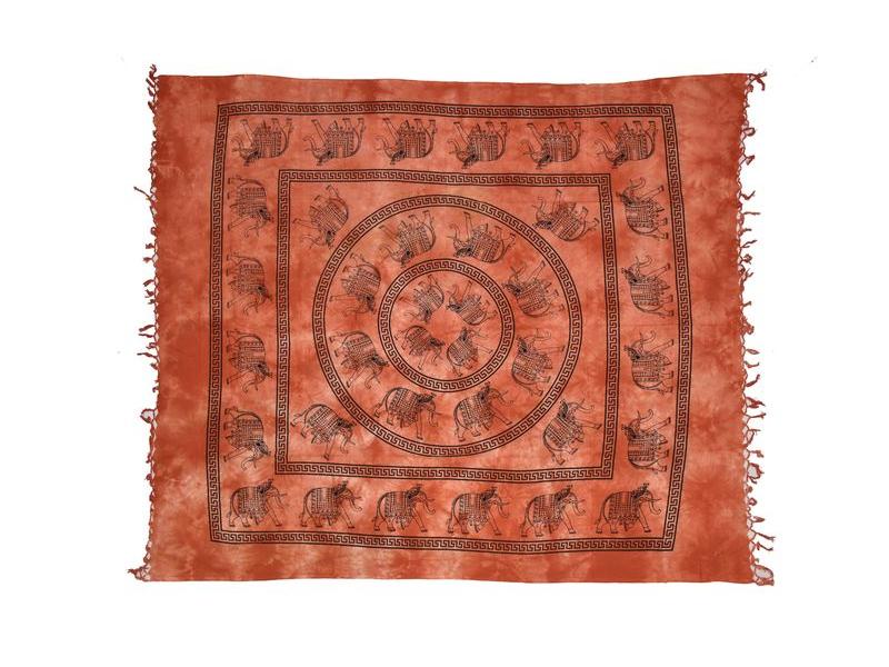 Oranžový přehoz na postel, černý potisk, sloni, 210x240cm