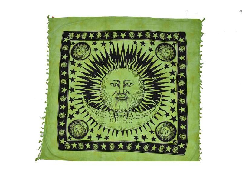 Zelený přehoz na postel, černý potisk, slunce a měsíc, 210x240cm
