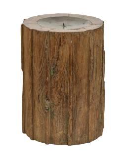 Dřevěný svícen ze starého teakového sloupu, 22x22x30cm