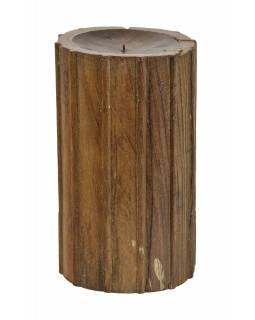 Dřevěný svícen ze starého teakového sloupu, 17x17x31cm