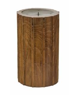 Dřevěný svícen ze starého teakového sloupu, 19x19x31cm
