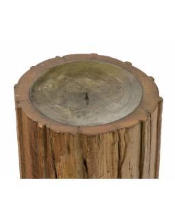 Dřevěný svícen ze starého teakového sloupu, 18x18x30cm