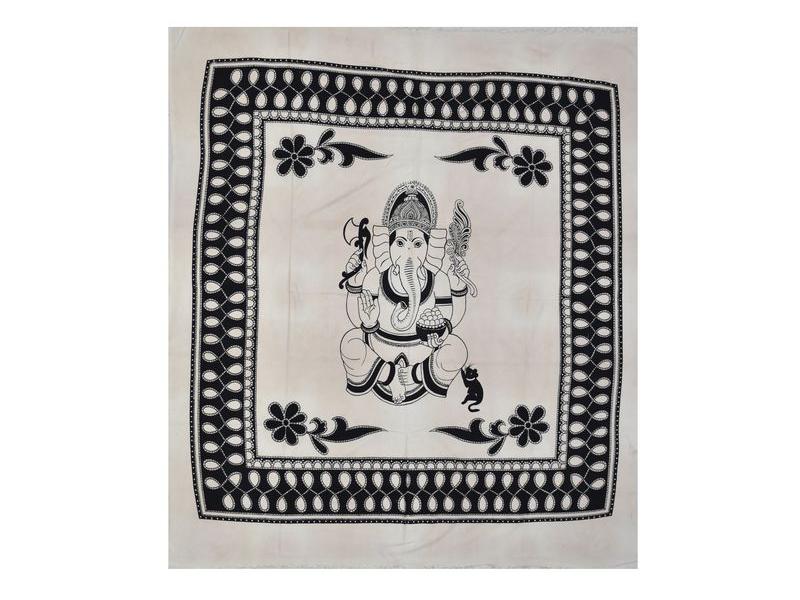 Bílý přehoz na postel, černý potisk, Ganesh, 210x240cm