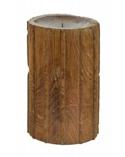 Dřevěný svícen ze starého teakového sloupu, 17x17x30cm
