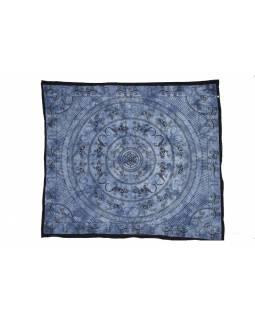 Přehoz přes postel, Mandala ještěrky, modrá batika, 205x230cm