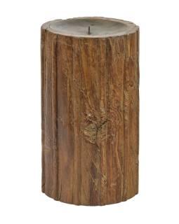 Dřevěný svícen ze starého teakového sloupu, 17,5x17,5x30cm