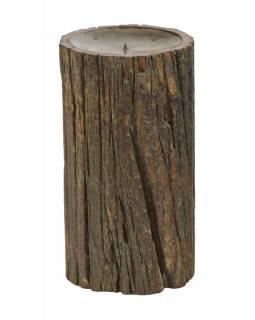 Dřevěný svícen ze starého teakového sloupu, 16x16x30cm