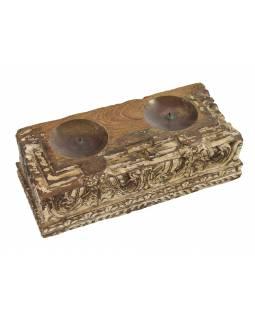 Dřevěný svícen ze starého teakového sloupu, 37x16x12cm