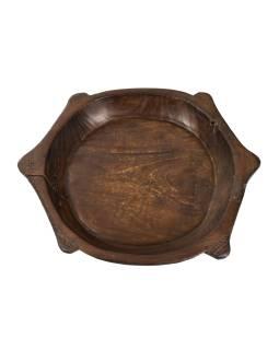 Dřevěná mísa z mangového dřeva vydlabaná z jednoho kusu, 48x40x6cm