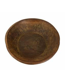 Dřevěná mísa z mangového dřeva vydlabaná z jednoho kusu, 43x43x12cm