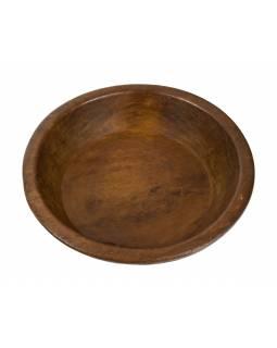 Dřevěná mísa z mangového dřeva vydlabaná z jednoho kusu, 46x46x12cm