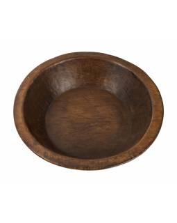 Dřevěná mísa z mangového dřeva vydlabaná z jednoho kusu, 40x40x11cm