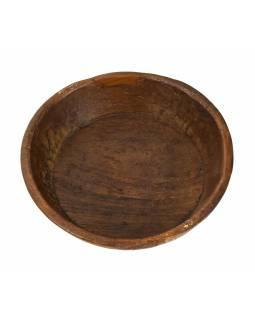 Dřevěná mísa z mangového dřeva vydlabaná z jednoho kusu, 37x37x11cm