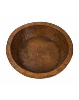 Dřevěná mísa z mangového dřeva vydlabaná z jednoho kusu, 40x40x12cm