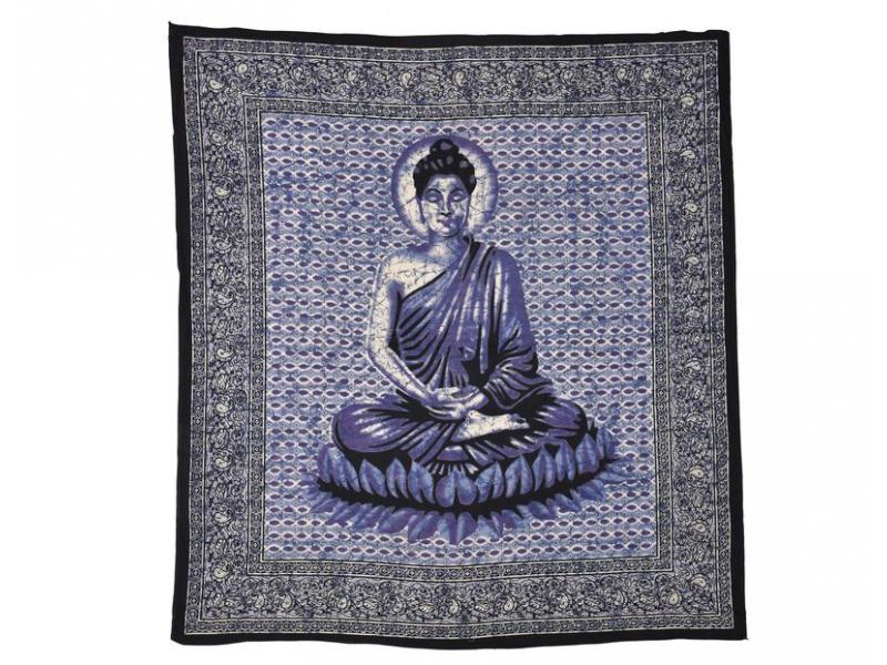 Přehoz na postel, Buddha modrý, 210x225cm