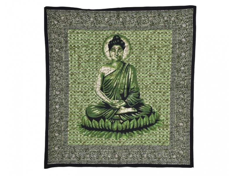 Přehoz na postel, Buddha zelený, 210x225cm