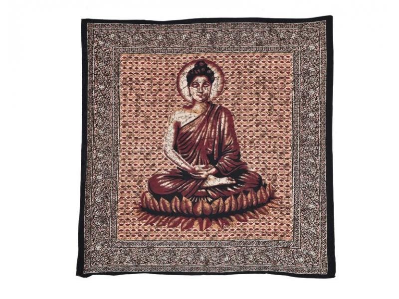 Přehoz na postel, Buddha hnědo vínový, 210x225cm