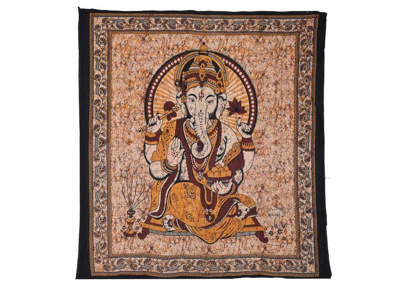 Přehoz na postel, Ganesh, žlutý, 210x225cm