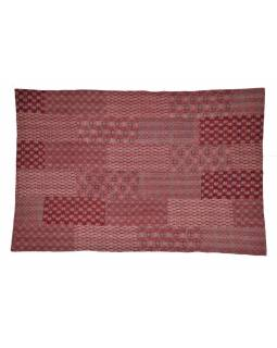"""Vínový přehoz na postel, """"Ajrak"""" block print, prošívaný, ruční práce, 145x220cm"""