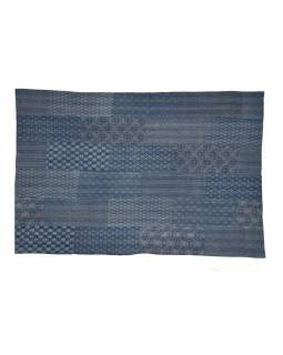 """Modrý přehoz na postel, """"Ajrak"""", block print, prošívaný, ruční práce, 155x220"""