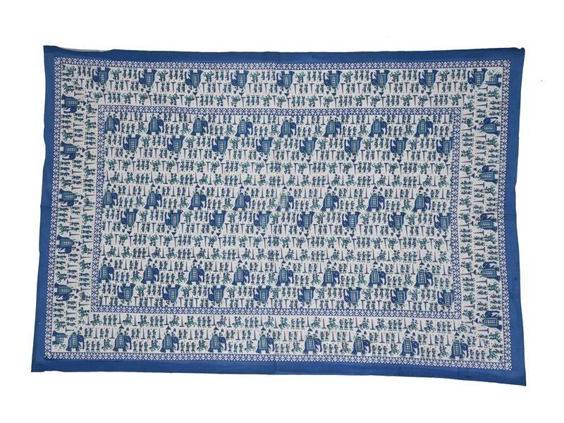 "Přehoz na postel, modrý, ""Průvod maharadži"", 140x210cm"