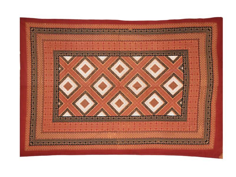 Přehoz na postel, červený, ornamenty, 140x210cm