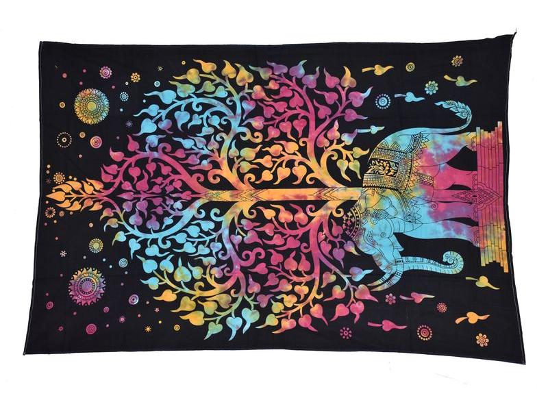 Přehoz na postel, Slon a strom života, duhová batika, 140x200cm