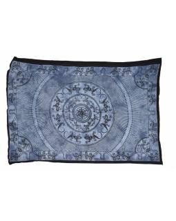 Přehoz na postel, Mandala ještěrky, modrá batika, 140x200cm