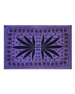 Tmavě fialový přehoz na postel s konopným listem, černý potisk, třásně,135x210cm