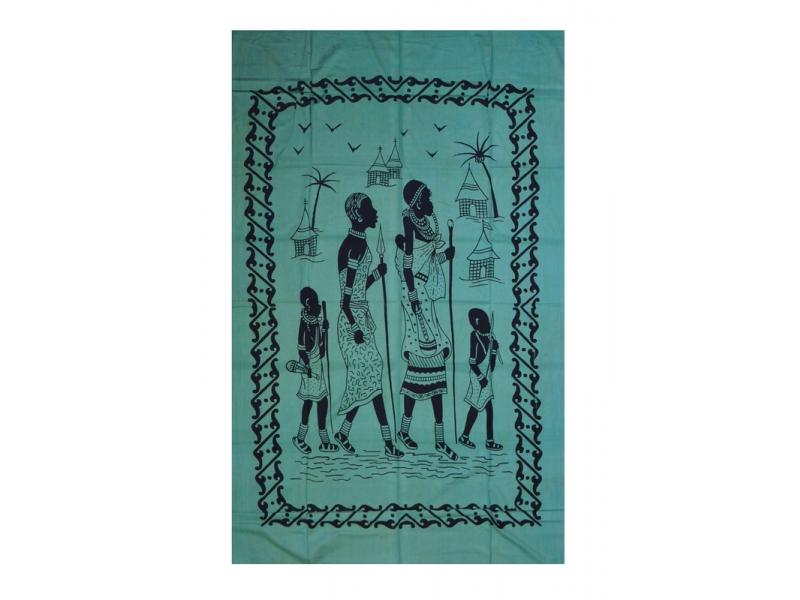 Tmavě zelený přehoz na postel s africkými ženami, černý potisk, třásně, 135x210