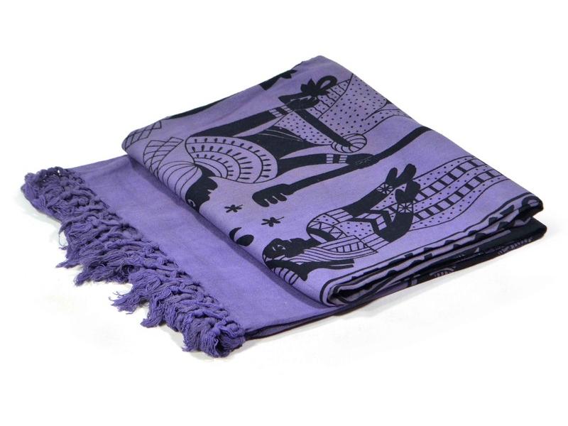 Tmavě fialový přehoz na postel s Egyptem, černý potisk, třásně, 135x210