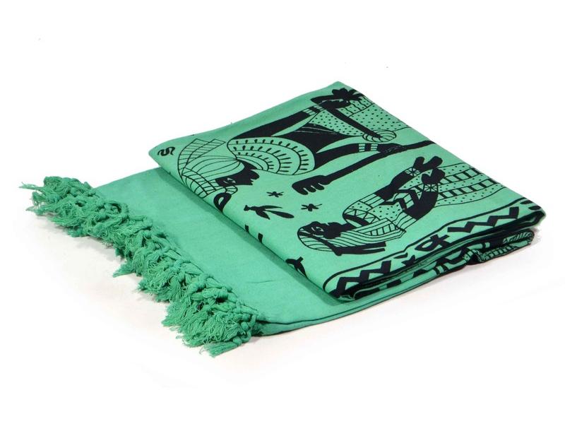 Tmavě zelený přehoz na postel s Egyptem, černý potisk, třásně, 135x210