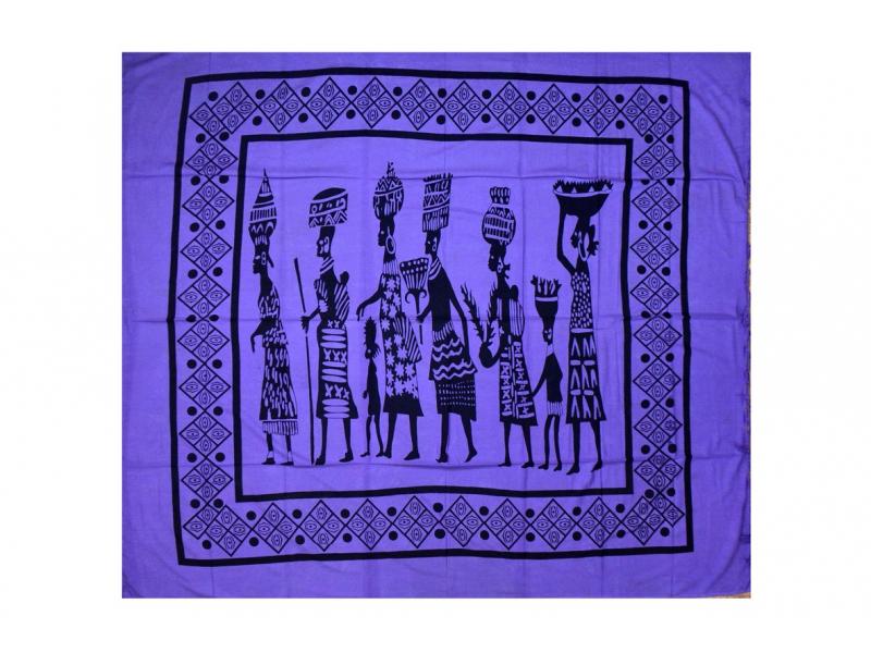 Fialový přehoz na postel s africkými ženami, černý potisk, třásně, 210x240cm