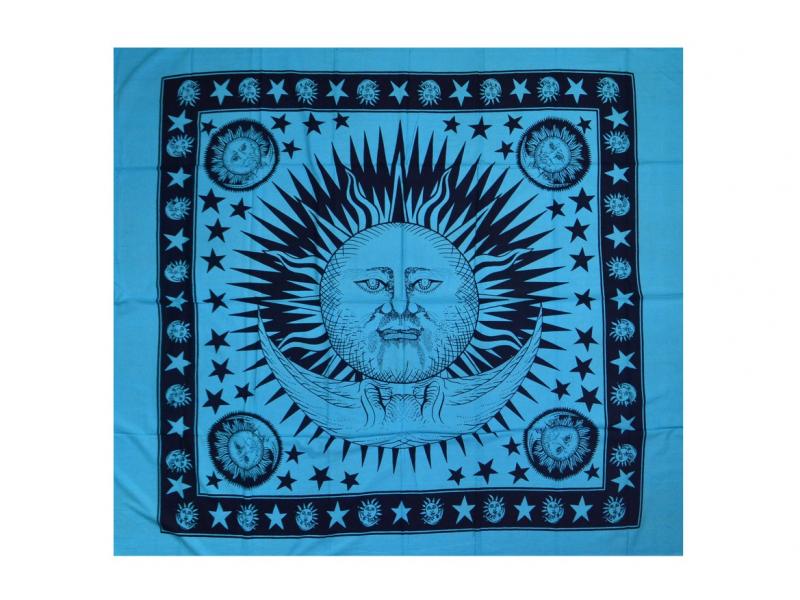 Tyrkysový přehoz na postel se sluncem, černý potisk, třásně, 210x240cm