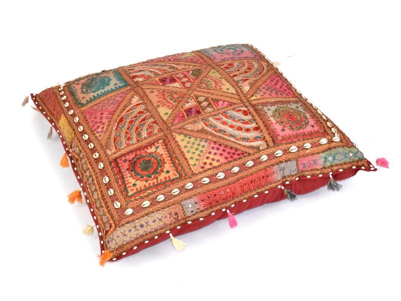 """Meditační polštář, """"Rajasthan Antik"""", zrcátka, mušličky, třásně, 85x85x20cm"""