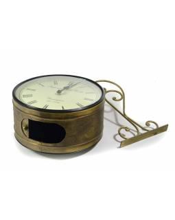 Oboustranné závěsné hodiny, zlatá, květinový motiv, zdobený mosazný plech, 26cm