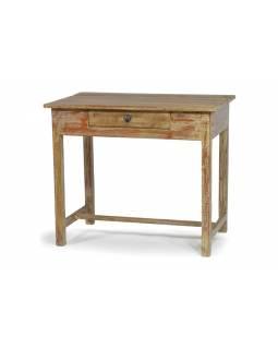 Psací stůl z antik teakového dřeva se šuplíkem, bílá patina, 90x53x77cm