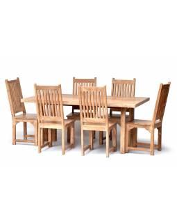 Jídelní stůl a 6 židlí z antik teaku, bílá patina, 185x90x78cm