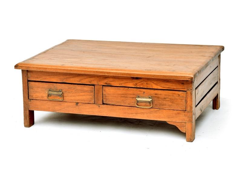 Stolek z antik teakového dřeva se dvěma šuplíčky, 69x55x26cm
