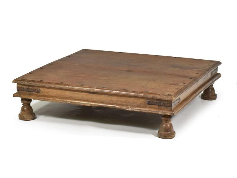Antik rituální stolek z teakového dřeva, 77x77x19cm