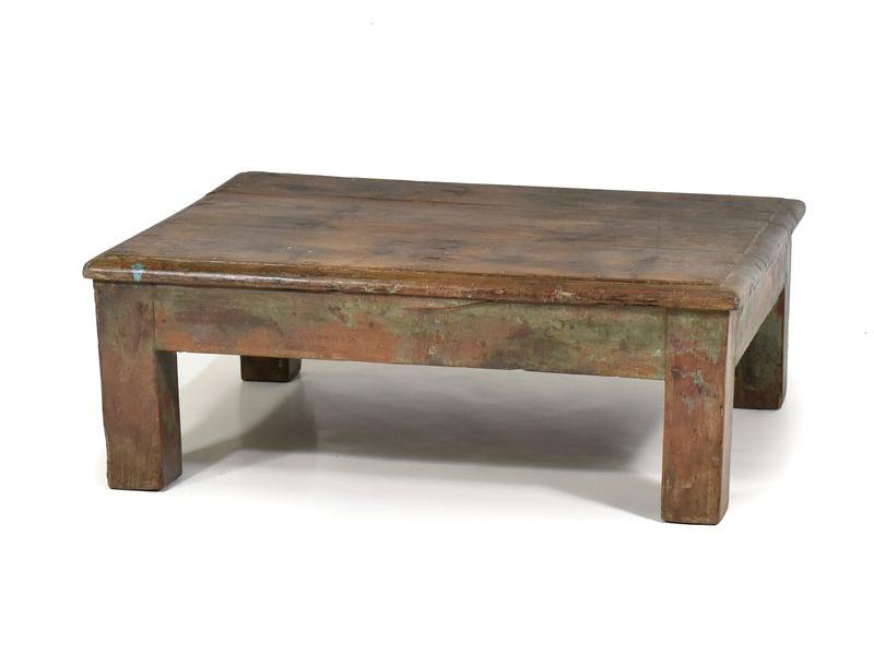 Antik stolek z teakového dřeva, 76x60x29cm