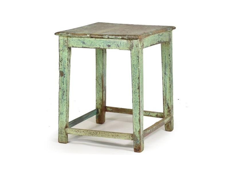 Odkládací stolek z antik teaku, zelená patina, 53x53x63cm