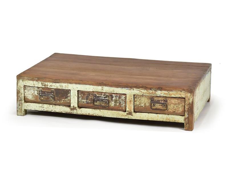 Nízký stolek s šuplíky z antik teakového dřeva, zelená patina, 84x54x20cm